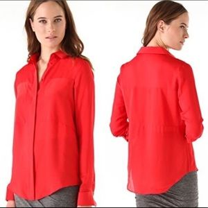 T by Alexander Wang Cayenne Red Silk Blouse Small